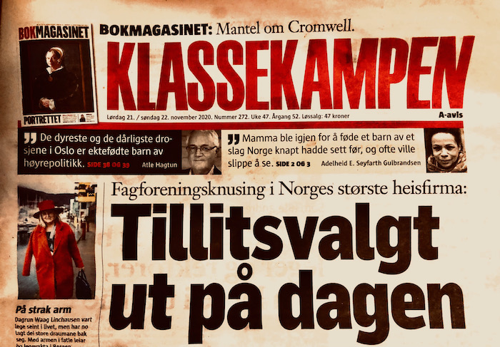 Ejemplar del periódico Klassekampen de Noruega