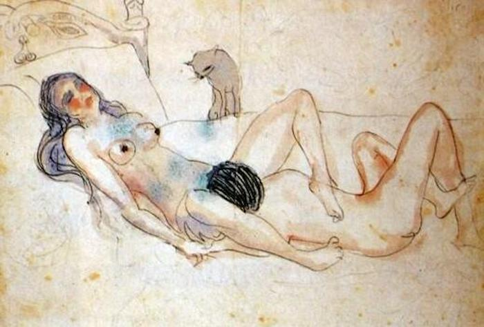 Dos desnudos y un gato. Pablo Picasso.