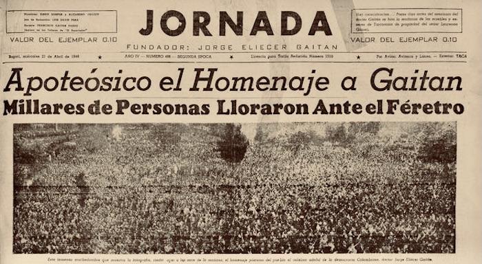 """Ejemplar de """"La Jornada"""", periódico fundado por Gaitán"""