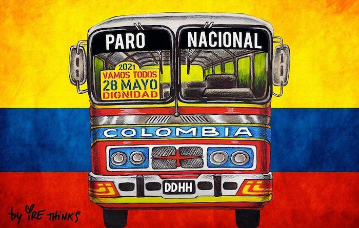 La buseta del paro colombiano