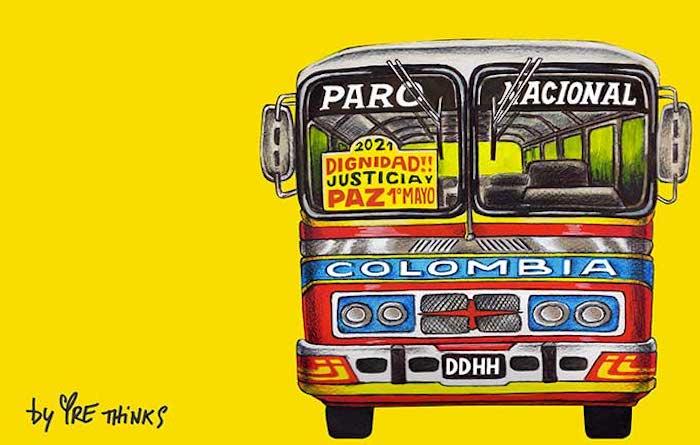La buseta del paro en Colombia